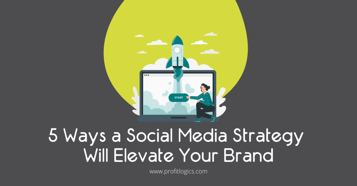 5 ways a social media strategy will elevate your brand. A woman in front of a computer and a rocket.